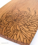 chrysanthemum cherry cutting board